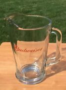 """+ Vintage Budweiser King Of Beer Heavy Glass Pitcher Weighs 4.1 Lb 9"""" Tall"""