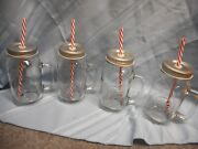 Mason Country Drinking Glass Jar With Straw Lid Lot Of 4 New 24 Fl Oz