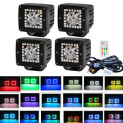 4x 3inch 24w Rgb Halo Chasing Ring Led Spot Work Light Spo Pods + Wiring Harness