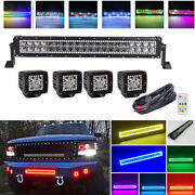 22 120w Led Light Bar And 4x 3 Fog Pods Rgb Chasing Halo Ring For Ford Jeep 4x4