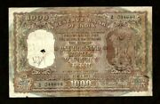 Reserve Bank Of India Delhi 1000 1000 Rupees Nd P46 1954-1957 Rare Type Note