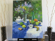 Flowers Bouquet Fruits Tea Oil Canvas Painting Still Life Russian Signed Listed