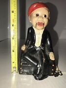 Vintage Composite Charlie Mccarthy Puppet Bank + Key Rare Condition Mouth Moves