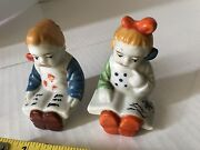 Vintage Salt And Pepper Shakers Two Girls Europe. Cork Bottom Occupied Japan Old