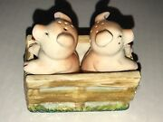 Vintage Two Pig Salt And Pepper Set Occupied Japan In A Ceramic Box Has A Crack
