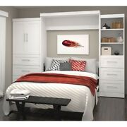 Bestar Pur 125 Queen Wall Bed With Storage In White