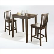 Crosley Furniture 3 Piece Pub Set With School House Stools In Vintage Mahogany