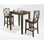 Crosley Furniture 3 Piece Pub Set With X-back Stools In Vintage Mahogany
