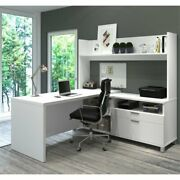 Bestar Pro-linea L-shaped Home Office Desk With Hutch In White