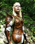 Medieval Leather Full Suit Of Armor / Leather Cuirass Lady Armour Full Suit