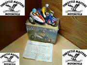 Metal Tin Wind-up Motorcycle Toy W/ Sidecar For Vintage Clockwork Collector