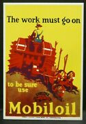 Dollhouse Miniatures Metal Sign Advertising Tractor Mobil Oil 2 X 2 7/8