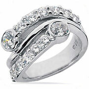 1.82 Carat Right Hand Diamond Wedding Band 18k Gold Ring F Color Si1 Clarity