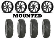 Kit 4 System 3 Xcr350 Tires 36x10-18 On Msa M36 Switch Black Wheels Can