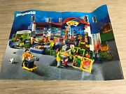 Vintage Playmobil 3200 Large Grocery Store Playset Toy Shopping Cart With Poster