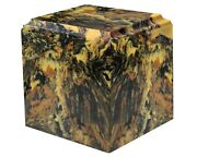 Large/adult 280 Cubic Inch Antique Gold Cultured Marble Cube Cremation Urn