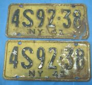 1941 New York License Plates Matched Pair