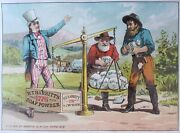 Antique Victorian Trade Card Lithograph Gold Miners Ca Uncle Sam American Flag