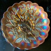 Antique Northwood Marigold Carnival Glass Peacock And Urn Master Ice Cream Bowl