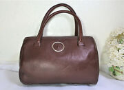 Vintage Gianni Versace Brown Leather Small Doctor Dr. Hand Bag