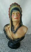 Vintage Chalkware Bust Of An American Indian Chef