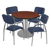 Via 36 Round Platter Base Table- Cherry/grey And 4 Uptown Side Chairs- Navy