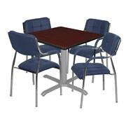 Via 48 Square X-base Table- Mahogany/grey And 4 Uptown Side Chairs- Navy