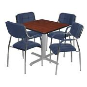 Via 36 Square X-base Table- Cherry/grey And 4 Uptown Side Chairs- Navy