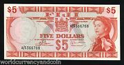Fiji 5 Dollars P73 1974 Young Queen Unc Rare World Currency Paper Money Banknote