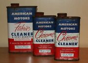 Rare 1950and039s Vintage American Motors Fabric Cleaner And Chrome Cleaner Tin Cans