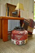 Distressed Mexican Leather Console Sofa Table Vintage