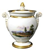 Antique Early 19th Century Meissen Large Scenic Porcelain Sugar Box Bowl W/ Lid
