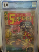 Tales Of Suspense 48 Cgc 3.0 1st Appearance Red Gold Armor Iron Man Ditko Marvel