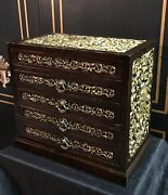 Heavily Carved Chinese Jewelry Box Gilted Late 1800andrsquos