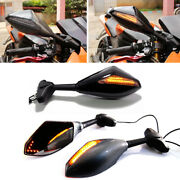 Universal Motorcycle Led Turn Signal Lights Rearview Side Mirrors Black Carbon