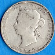 Canada 1886 25 Cents Twenty Five Cent Silver Coin - Vg/f