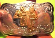Maker Marked Chambers Made In Usa High Back Saddle Western Belt Buckle