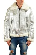 Versace Menand039s Silver Pebbled Leather Shearling Zip Up Jacket Coat Us M It 50