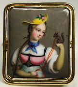 Antique 19th Century Swiss Enamel Victorian Lady And Squirrel 14k Gold Frame Pin