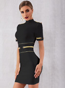 New Designer Couture Elegant Mock Neck Bandage Dress Conservative Business Dress