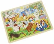 Goki Wooden Educational Toys Wooden Puzzle Puppy School