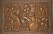 Vintage African Tribal Relief Carved Wood Panel Wall Art Storyboard Carving