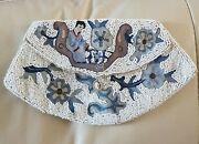 Antique Art Deco Bag Micro Beaded Chinese Embroidered Clutch Purse Japanese Lady