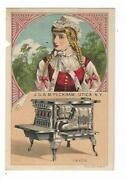 Old Trade Card J S And M Peckham Utica Ny Saxon Coal And Wood Cook Stove Range