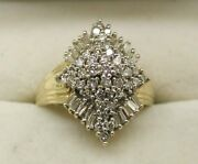 A Gorgeous Vintage 14ct Gold Round And Baguette Cut Large Diamond Cluster Ring