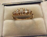 Stunning Ladies Heavy Solid 18ct Gold Victorian Old Cut Five Stone Diamond Ring
