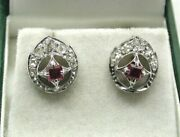 Beautiful Antique Pair Of 9 Carat White Gold Ruby And Diamond Earrings