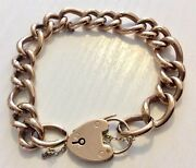 Ladies Antique Hollow 9ct Rose Gold Chunky Type Bracelet And Padlock