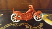 Vintage Red Plastic Toy Motorcycle With White Wheels