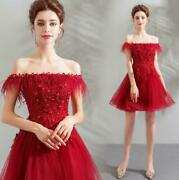 Trendy Off Shoulder Feather Floral Tulle Mini Gown Cocktail Prom Evening Dress@h